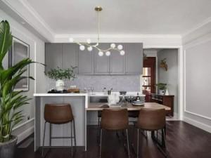 开放式厨房装修效果图 美式灰色橱柜效果图