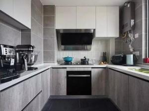 浅灰色厨房效果图 北欧风橱柜效果图