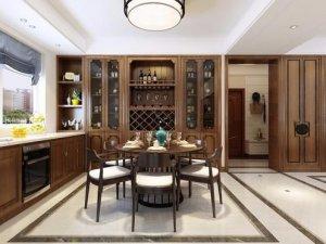新中式厨房装修效果图 实木橱柜设计图