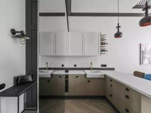 浅灰色厨房效果图 开放式橱柜图片大全