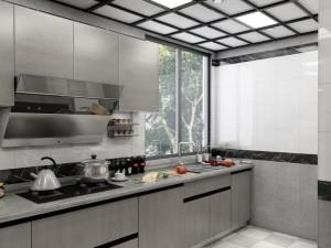 开放式厨房装修效果图 简约风灰色橱柜图片