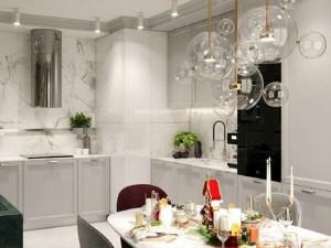 浅灰色厨柜装修效果图 餐厨一体空间图片
