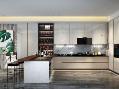 蓝谷智能厨房图片白橡木擦金C07-5 现代风橱柜效果图