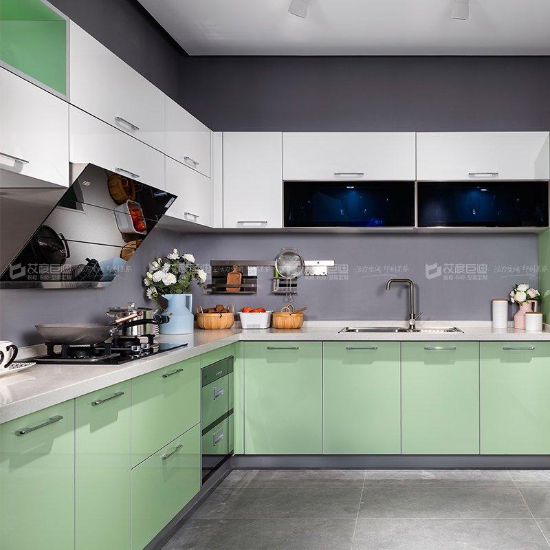 艾度巨迪效果圖 清爽簡約風綠色櫥柜圖片