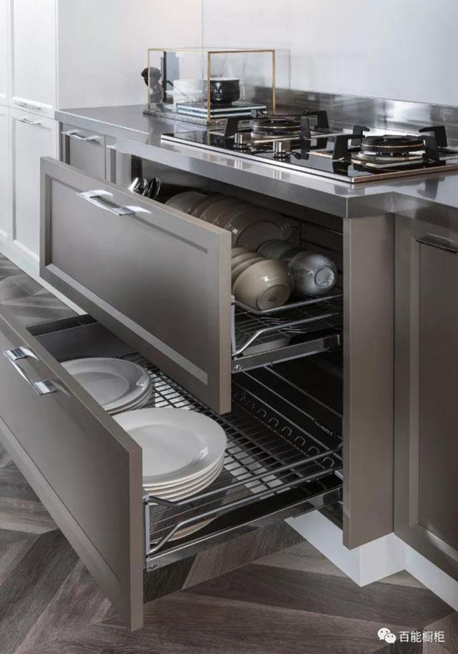 百能不锈钢橱柜图片欧卡诺 现代风格橱柜效果图