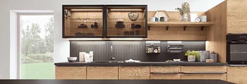 德国柏丽nobilia图片西雅娜橡木色 简约风格橱柜门板效果图