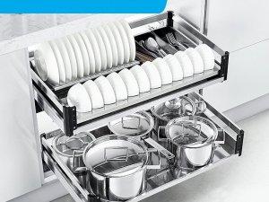 悍高五金图片 304不锈钢阻尼调味拉篮双层碗碟篮厨房装修效果图