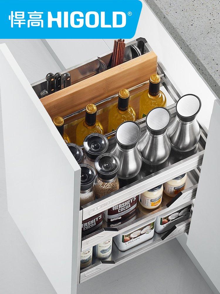 悍高五金图片潘多拉系列SUS304 厨房橱柜拉篮效果图