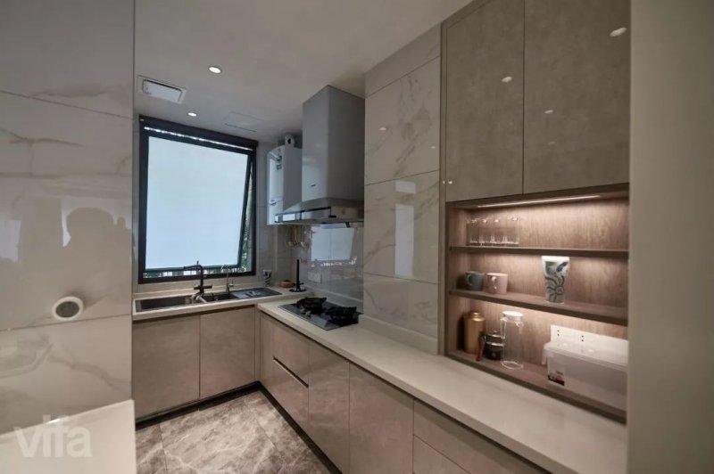 威法高端厨柜图片云石白和云石灰 轻奢风格橱柜效果图