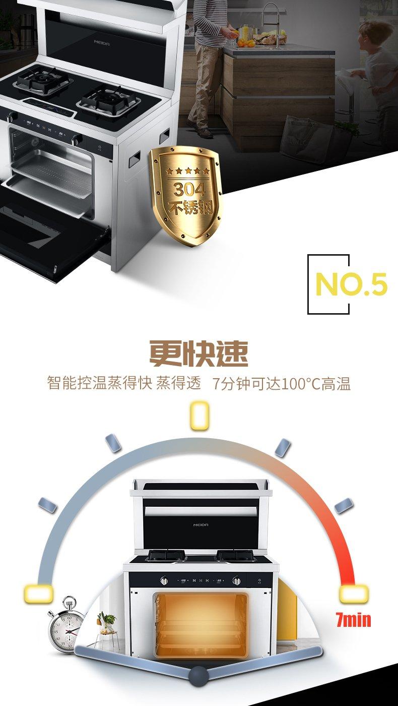 美大集成灶图片 蒸箱一体燃气灶时尚米兰蒸箱款产品效果图_3