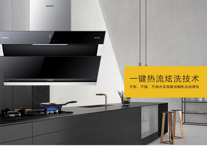 华动厨房电器HD-F70A双风道吸油烟机效果图
