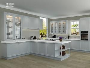 法迪奥不锈钢艺术厨柜 GY003 产品图 白色田园风格橱柜效果图