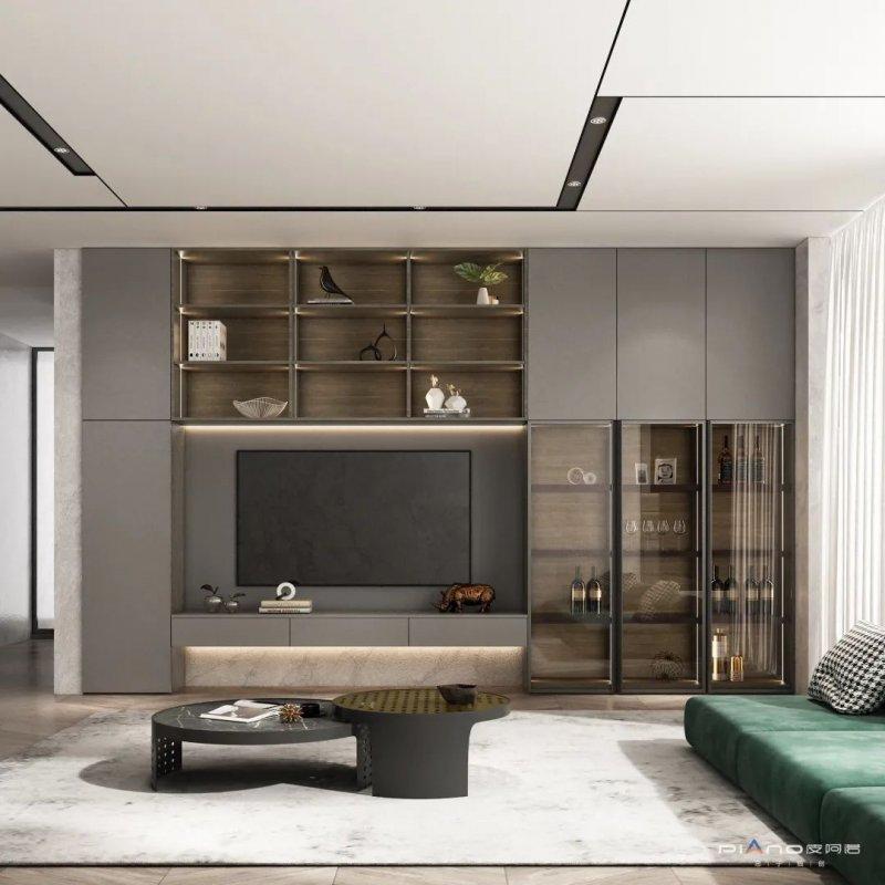 皮阿诺橱柜•全屋定制现代简约风客厅设计效果图_2