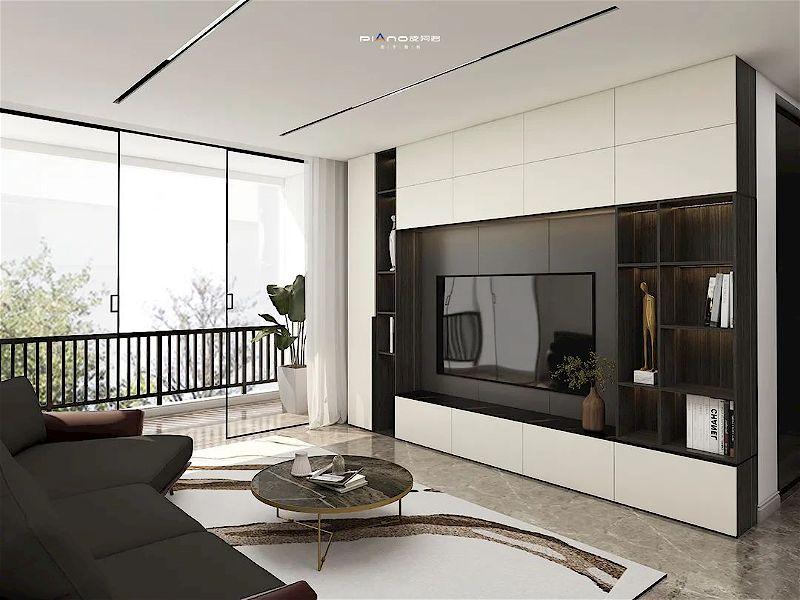 皮阿诺橱柜•全屋定制现代简约风客厅设计效果图_1